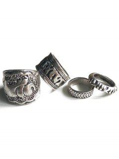 Elephant Head Cameo Ethnic Style Rings - Silver