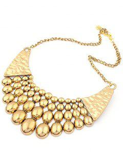 Multilayered Bead Pendant Clavicle Necklace - Golden