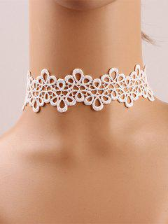 Crochet Flower Choker - White Grey