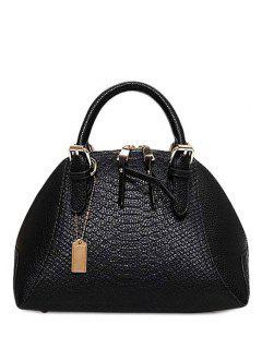 Crocodile Print Buckles Solid Color Tote Bag - Black