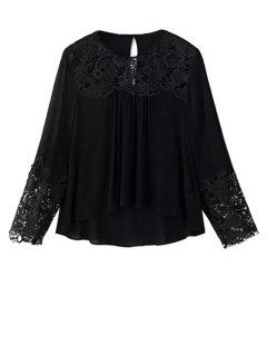 Lace Splicing Round Neck Long Sleeve Blouse - Black S