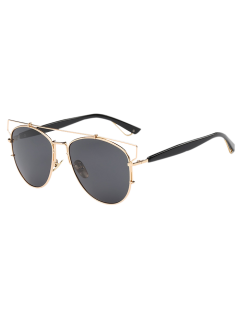 Crossbar Metal Sunglasses - Golden