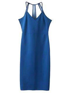 Sleeveless Solid Color Sheath Dress - Blue L