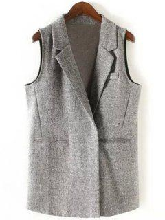 Back Slit Lapel Collar Covered Button Waistcoat - Gray L