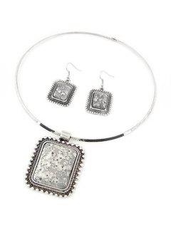 Retro Rectangle Turquoise Necklace And Earrings - Gray