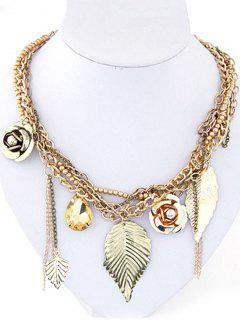 Leaf Flower Bead Pendant Necklace - Golden