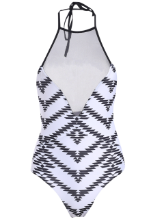 Printed One-Piece See Through Bathing Suit - White S
