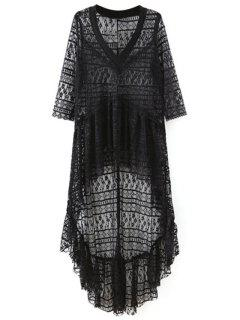 High-Low Hem V-Neck 3/4 Sleeve Lace Cover Up - Black L