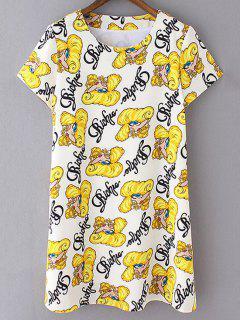 Cartoon Print Shift Dress - Yellow Xl