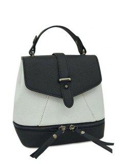 Zips Color Block PU Leather Satchel - White And Black