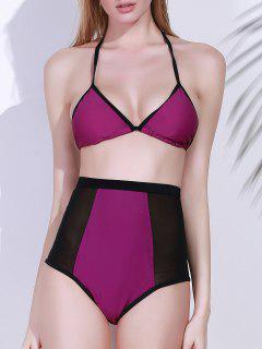 High-Waisted Color Block Bikini Set - Purple L