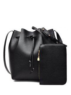 Solid Color String PU Leather Crossbody Bag - Black