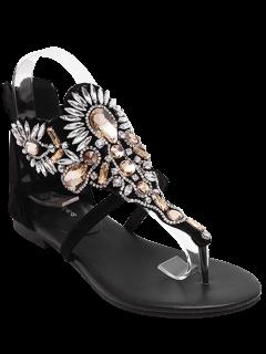 Sandales Noir à Talon Flat Avec Faux Bijou  - Noir 38