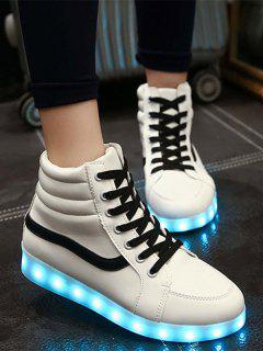 LED Light High Top Sneakers - White 39