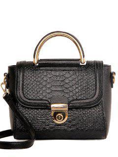 Metallic Crocodile Print PU Leather Tote Bag - Black