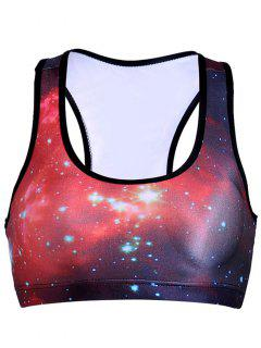 Galaxy Print Active Bra - Red L