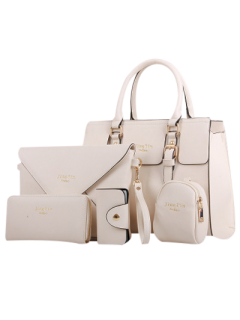 Letter Print Double Buckles Tote Bag - Milk White