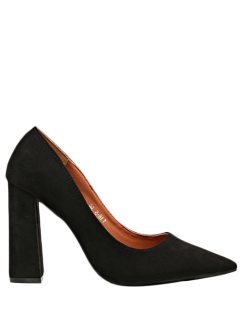 Suede Pointed Toe Chunky Heel Pumps - Black 37