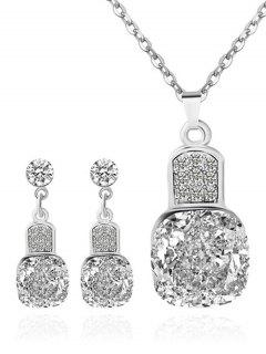 Rhinestone Geometric Wedding Jewelry Set - Silver