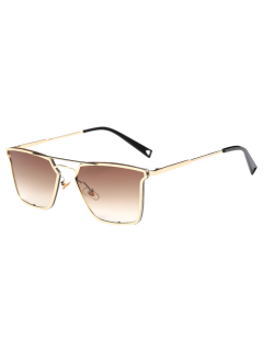 Irregular Double Rims Sunglasses - Tea-colored