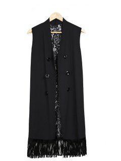 Lace Splice Black Collarless Waistcoat - Black
