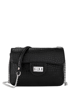 Crocodile Print Hasp Chains Crossbody Bag - Black
