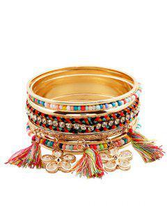 Beaded Alloy Flower Pendant Strand Bracelets - Golden