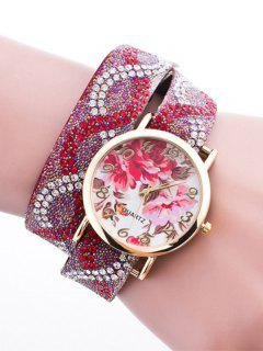 Rhinestone Flower Quartz Bracelet Wristband Watch - Red