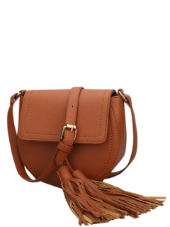 Tassels Covered Closure PU Leather Crossbody Bag - Brown