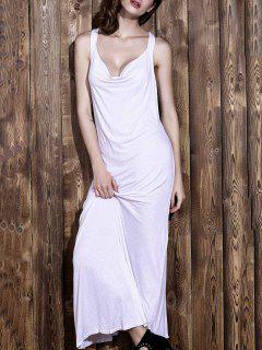 White V Neck Sleeveless Backless Maxi Dress - White Xl