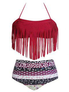Tassels Spliced Halter Printed High Waisted Bikini Set - Red 2xl