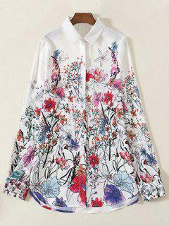 Gira El Collar Abajo Floral Camiseta De Manga Larga - Blanco L