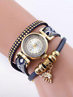 Faux Leather Rhinestone Elephant Bracelet Watch - Deep Blue