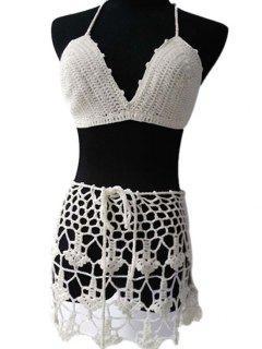 White Crochet Halter Bikini Set - White
