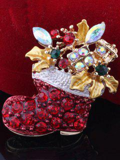Rhinestone Adorn Christmas Boots Brooch - Red