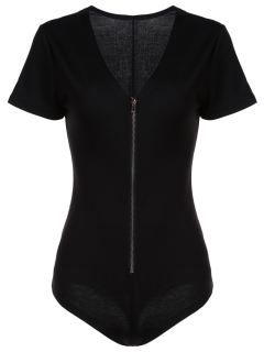 Black Zipper Plunging Neck Short Sleeve Bodysuit - Black Xl