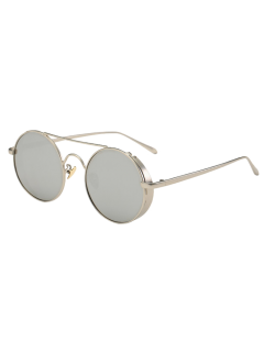 Crossbar Mirrored Round Sunglasses - Silver