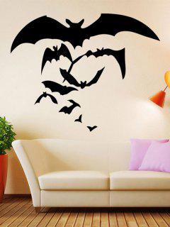 Halloween Bat Pattern Removable Waterproof Room Wall Sticker - Black