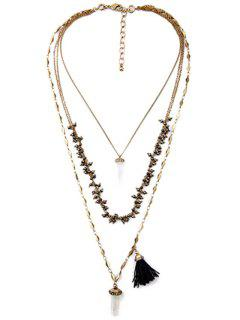 Multilayered Long Style Necklace - Copper Color