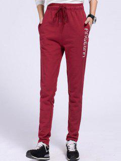 Side Letter Graphic Running Pants - Claret Xl