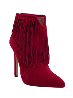 Fringe V-Shape Zipper Ankle Boots - Deep Red 38