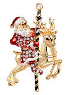 Christmas Reindeer Rhinestone Santa Brooch - Red