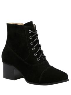 Suede Square Toe Chunky Heel Boots - Black 38