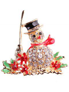Christmas Snowman Rhinestone Adorn Brooch - Golden