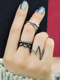 A Suit Of Lighting Alloy Rings - Silver One-size