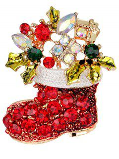 Christmas Rhinestone Shoe Brooch - Red