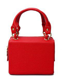 Solid Color Embossing Zipper Tote Bag - Red