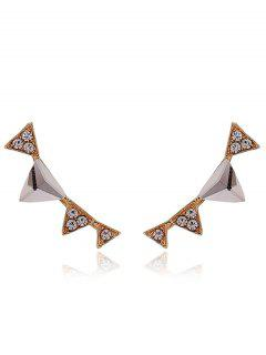 Rhinestone Triangle Earrings - Golden