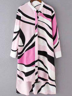 Striped High-Low Shirt Collar Long Sleeve Shirt - Pink S