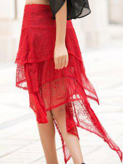 Asymmetric Solid Color Lace Skirt - Red L